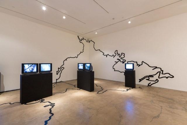 "Juan Downey, ""Video Trans America"" (1976–78), 14-channel video installation"