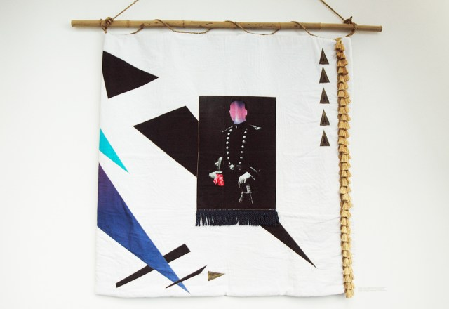"""Chelsea Rae Klein, """"Portrait of a Soldier (Hanky Code Quilt)"""" (2014), wholecloth quilt with digital print on fabric, cotton, linen, rayon, silk, metallic, polyester, cotton batting, wool backing"""