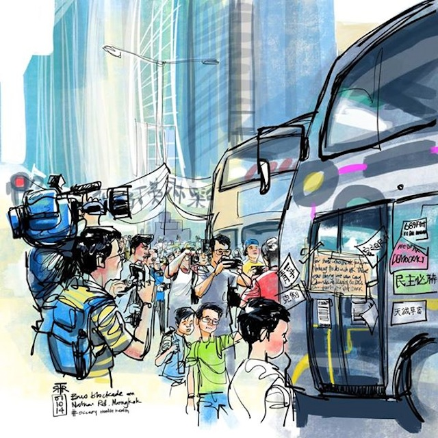 A drawing of the Hong Kong protests by Rob Sketcherman (image via Facebook)