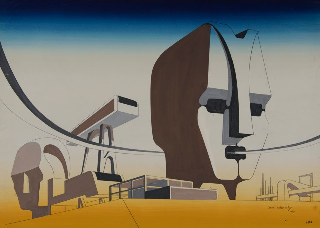 """Xanti Schawinsky, """"Architectural Design"""" (1945), mixed media, watercolor and black pen on paper, 20 3/4 x 28 7/8 inches (52.7 X 73.4 cm)"""