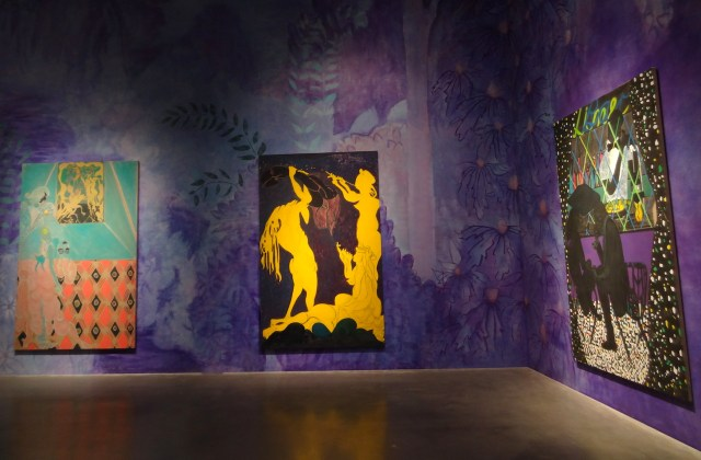 """Installation view of 'Chris Ofili: Night and Day' with """"Ovid-Desire"""" (2011–12, at left), """"Ovid–Actaeon"""" (2011–12, at center), and """"Lime Bar"""" (2014, at right)"""
