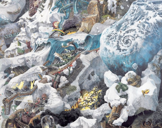 Manabu Ikeda, (b. 1973), Foretoken (detail), 2008. Pen, acrylic ink on paper, mounted on boards; 72 x 132 in.  Collection of Sustainable Investor Co., Ltd. © Manabu Ikeda, courtesy Mizuma Art Gallery.