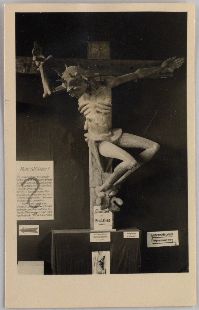 'Entarte Kunst' Berlin exhibition postcard, showing a modernist sculpture of Jesus Christ by Prof. Gies
