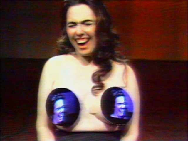 """Nam June Paik and Howard Weinberg,""""Topless Cellist"""" Charlotte Moorman (1995), video, 29 min (image courtesy Electronic Art Intermix [EAI], New York)"""