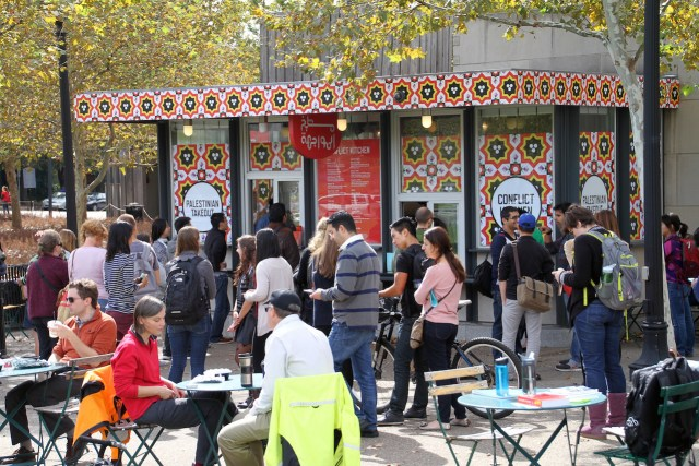 A line of people waiting to order Palestinian takeout from the Conflict Kitchen (all photos courtesy Conflict Kitchen)
