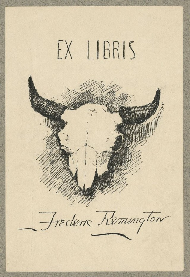 Bookplate of Frederic Remington, designed by the artist, lithograph (via Library of Congress, Prints and Photographs Division)