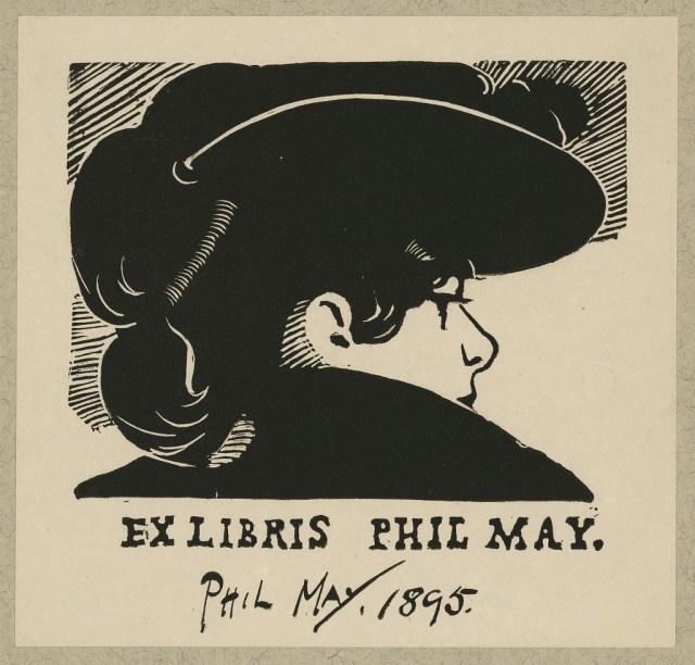 Bookplate of English caricaturist Phil May, designed by the artist (1895), woodcut (via Library of Congress, Prints and Photographs Division)