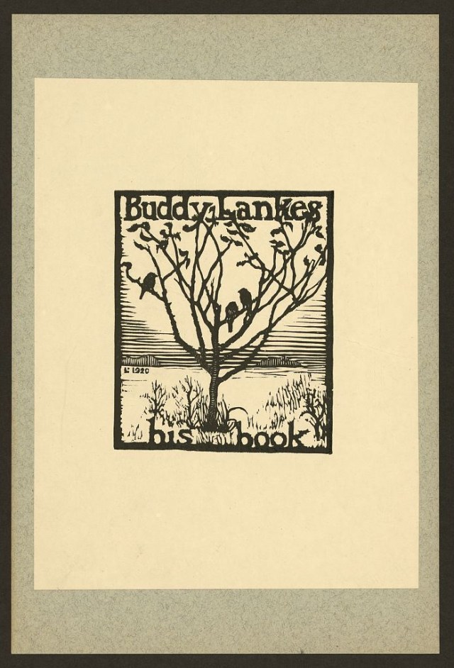 Bookplate of Buddy Lanke, designed by Julius J. Lankes (1920), woodcut (via Library of Congress, Prints and Photographs Division)