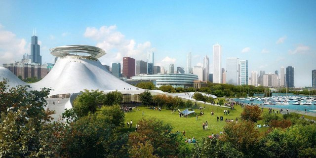 South view of the Lucas Museum of Narrative Art (Conceptual rendering © MAD Architects, via lucasmuseum.org)