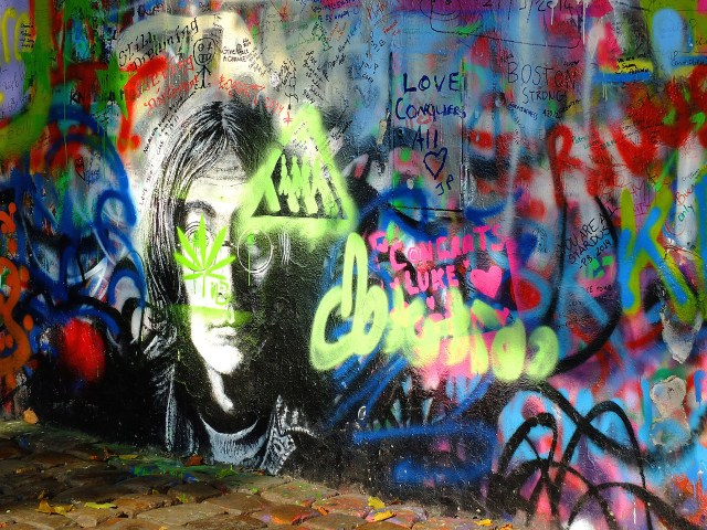 The John Lennon Wall in October 2014 (photo by  Steven Feather/Flickr)