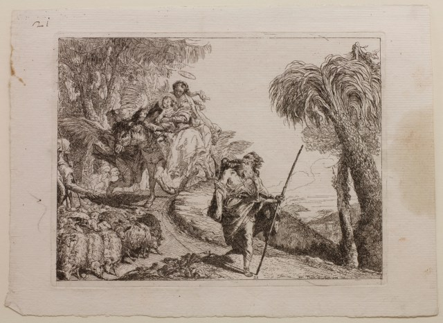 Giovanni Domenico Tiepolo The Holy Family Descending a Forest Path, Near a Flock and Some Shepherds, plate 21 from The Flight into Egypt (Idee pittoresche sopra la fuga in Egitto), 1750–53 Etching on off-white laid paper Jansma Collection, Grand Rapids Art Museum, 2012.40