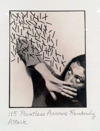 Detail from Roberta Allen's 'Pointless Acts' series (1976) (photo by Hrag Vartanian for Hyperallergic)