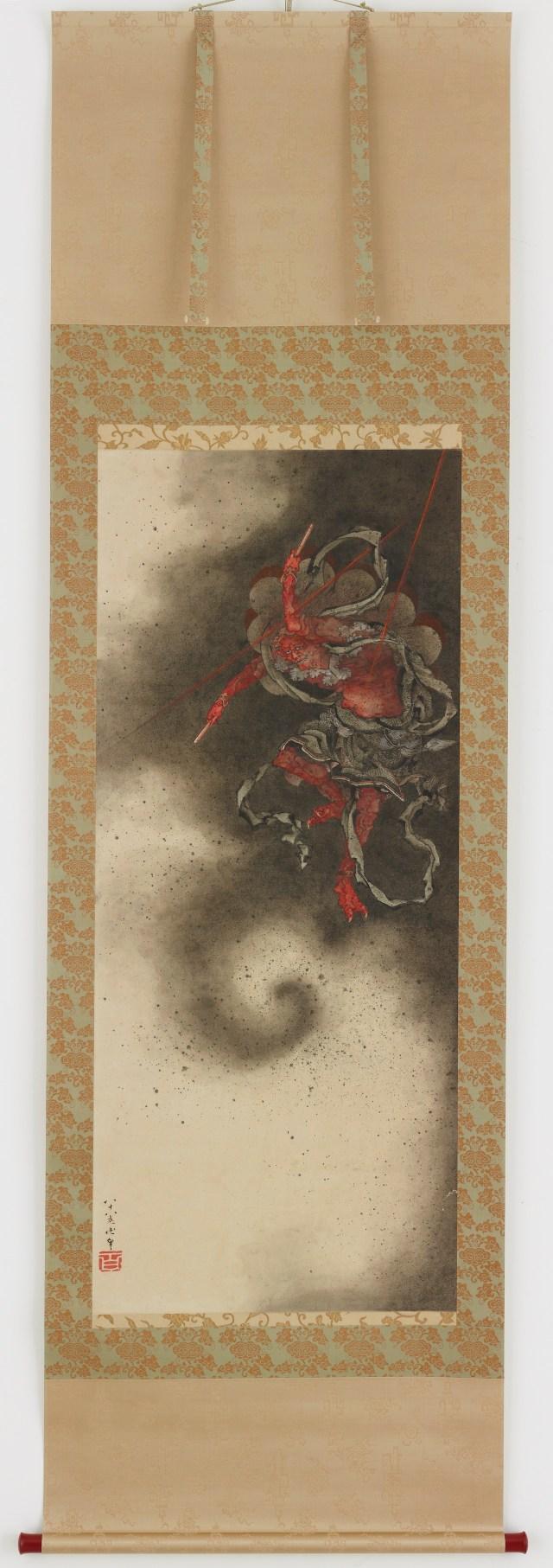 "Katsushika Hokusai, ""Thunder god"" (1760–1849), Japan, Edo period, 1847, ink and color on paper, Gift of Charles Lang Freer, Freer Gallery of Art"