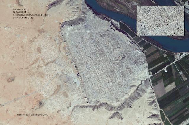 Dura Europos (2nd April 2014): until September 2014, rebel territory; currently, under Islamic State control - DigitalGlobe via U.S. Bureau of Educational and Cultural Affairs