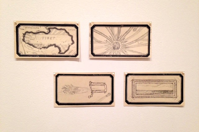 "From ""The Intuitionists"" at the Drawing Center: Maria Bussmann, ""The train is always leaving, 1 – 4"" (2014), pencil and old postal stickers on paper, each 3 7/10 x 6 2/5 inches."