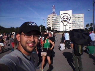 Selfie taken by Cuban blogger Alejandro Uloa Garcia, who arrived late at the Plaza de la Revolución on the day of the performance (photo courtesy Alejandro Uloa Garcia) (click to enlarge)