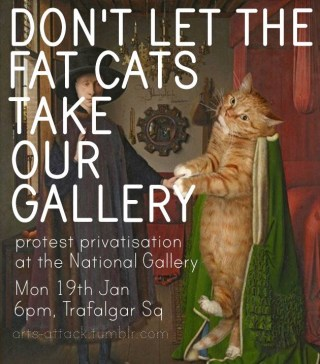 Flyer by Arts Attack for last night's protest at the National Gallery (image via Facebook) (click to enlarge)