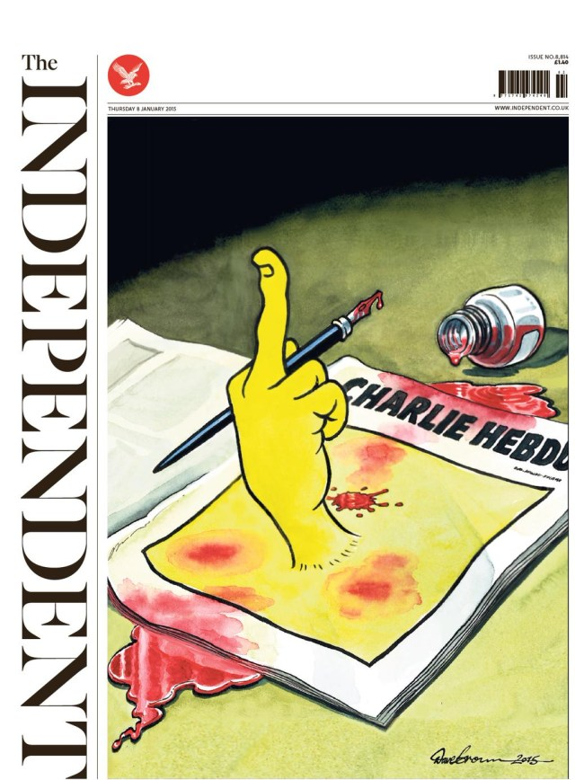 The cover of tomorrow's (Thursday, January 8, 2015) Independent newspaper.