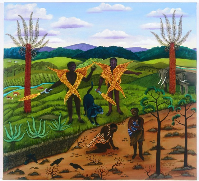 """Linda Anderson, """"The Banishment from the Garden of Eden"""" (2002), oil on canvas (High Museum of Art, purchase with funds from Mr. and Mrs. Anthony Montag, Jane and Bert Hunecke, and the Folk Art Acquisition Fund)"""