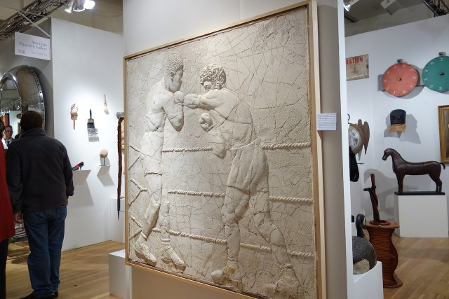 Relief panel of Joe Louis & Max Schmeling boxing for the 1930 World Championship, plaster panel for a Denver, Colorado, gymnasium, American Primitive Gallery