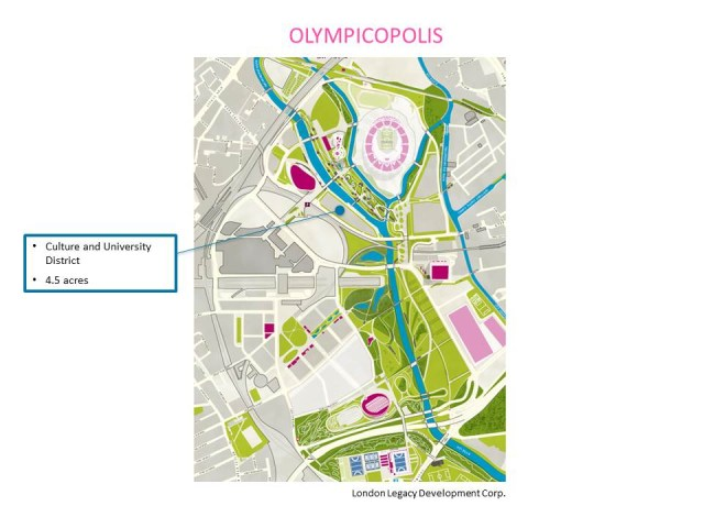 Map of the 4.5 acre site for the culture & university district of Olympicopolis (courtesy London Legacy Development Corp.)