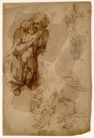 """Unknown draughtsman after Michelangelo Buonarroti, """"Sheet of studies with the Virgin embracing the Infant Jesus"""" (c.1508) (Musée Fabre, Montpellier; © Musée Fabre de Montpellier Méditerranée Métropole)"""