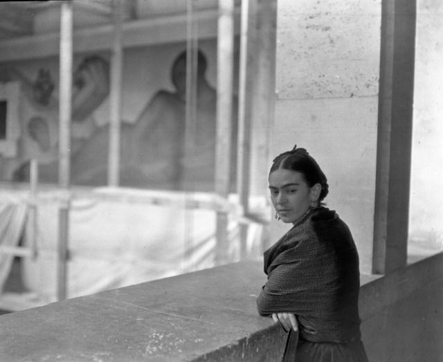 Frida on balcony overlooking Rivera Court