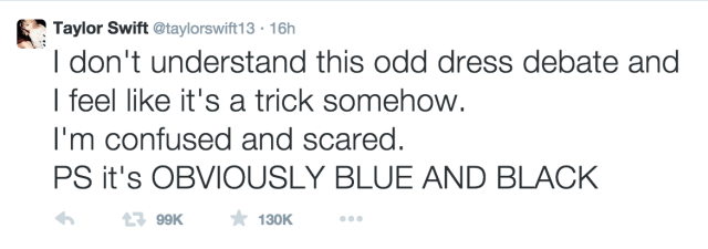 Singer Taylor Swift sees blue and black (Screenshot by author for Hyperallergic)