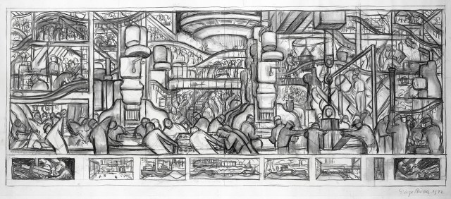 LMG112945 The Making of a Motor, cartoon for the north wall of the 'Detroit Industry' frescoes, 1932 (charcoal on paper) by Rivera, Diego (1886-1957); 45.7x83.8 cm; Leeds Museums and Galleries (Leeds Art Gallery) U.K.; Mexican,  in copyright