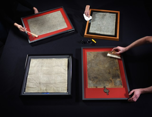 Magna Carta unification preparation (courtesy of the British Library)