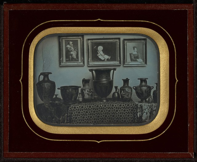 "Jean-Gabriel Eynard, ""Still Life of Greek Vases and Three Paintings"" (1850), daguerreotype (J. Paul Getty Museum, via Wikimedia)"