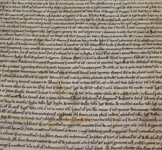 Salisbury Cathedral's Magna Carta manuscript, 1215, part of the British Library's unification event.