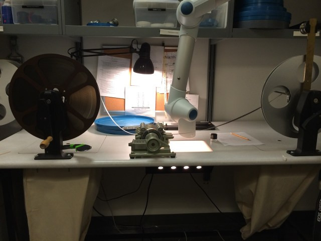 Inspecting 'The Grim Game' in NYU's film preservation lab (courtesy Kimberley Tarr)