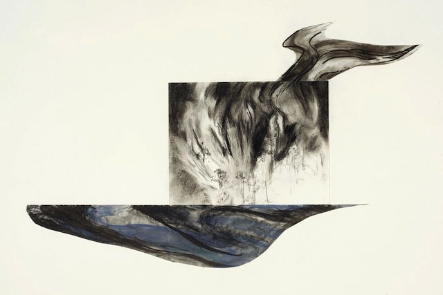 """Mary-Ann Kokoska, """"A Land Divided"""" (2013), charcoal, ink, pastel, graphite, 24 x 36 inches (courtesy A.I.R. Gallery)"""
