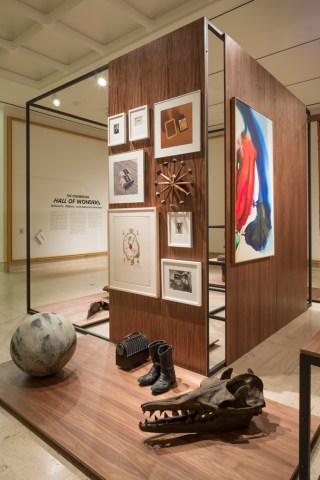 The design elements of the exhibit resonate particularly well with Travel Through Time & Space section, which invokes a sense of being in the mid-century modern rec room of some incredibly tasteful grandparents. (click to enlarge)