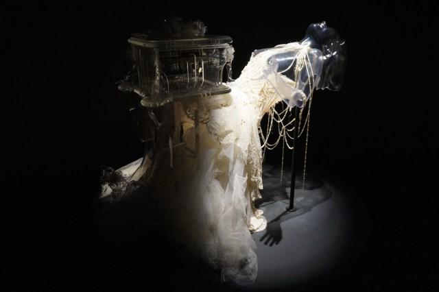 "Alexander McQueen, ""Pagan Poetry"" Dress (2001), and Matthew Barney, 'Verspertine' Music Box (2001) and 'Vespertine Live' Shoes (2001) (photo by Jillian Steinhauer/Hyperallergic)"