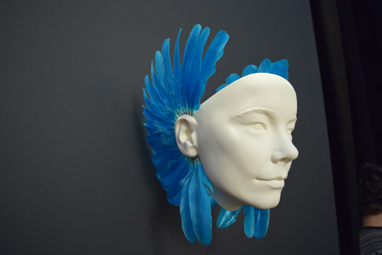 Shaun Leane, Feather Ear Pieces (2003/15) (photo by Benjamin Sutton/Hyperallergic)