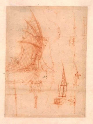 Drawing of a mechanical wing by Leonardo da Vinci (Circa 1490) (1) (click to enlarge)