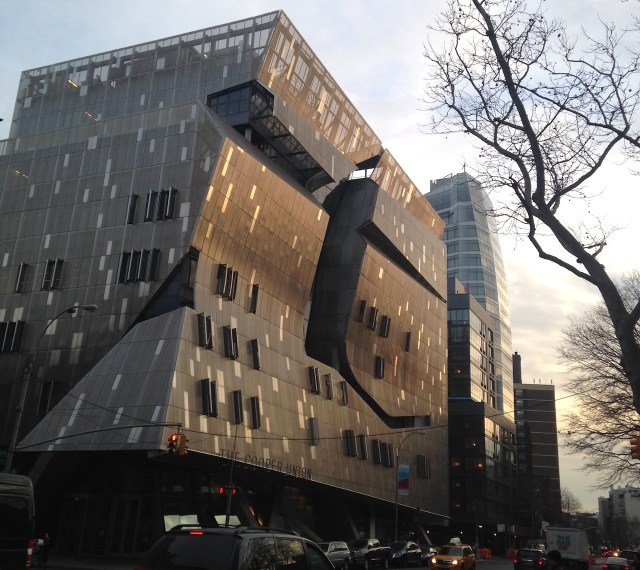 The Cooper Union's 41 Cooper Square building (photo by Jillian Steinhauer for Hyperallergic)