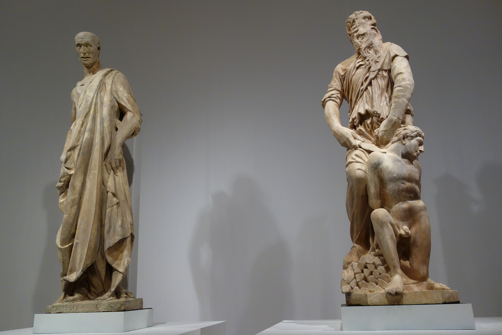 "Donatello, ""Prophet"" (1435-36), marble; and ""Abraham and Isaac"" (1421), marble"