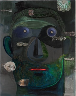 """Nicole Eisenman, """"Guy Capitalist (2011), oil and mixed media on canvas (collection Noel Kirnon and Michael Paley; courtesy of Susanne Vielmetter Los Angeles Projects; photo by Robert Wedemeyer)"""