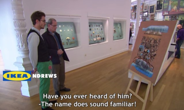Viewing an IKEA painting as a museum piece (via lifehunterstv on YouTube, screenshot by the author for Hyperallergic)