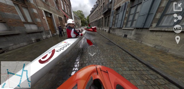 Kayakers flying in 'Mons Street Review'