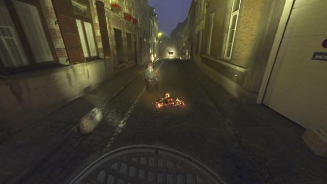 A curious scene on Rue de la Biche (Doe Street) in 'Mons Street Review'
