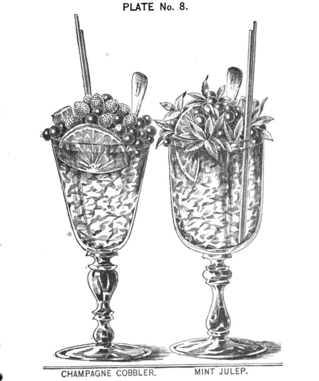 Illustration in 'The New and Improved Illustrated Bartenders' Manual; Or: How to Mix Drinks of the Present Style' by Harry Johnson (1888) (via Google Books)