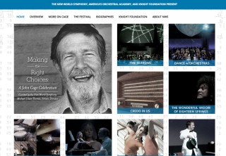 Landing page for 'Making the Right Choices: A John Cage Celebration' (screenshot by the author for Hyperallergic)