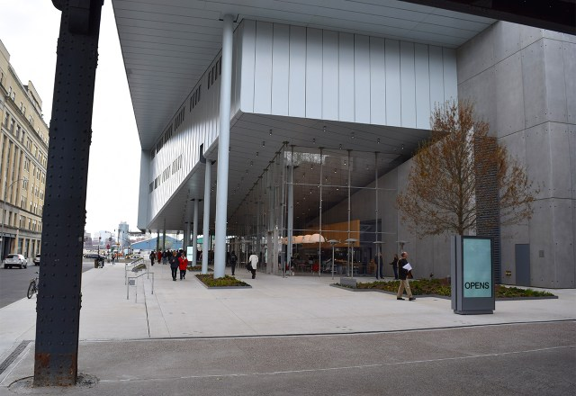 The entrance to the new Whitney Museum seen from beneath the High Line
