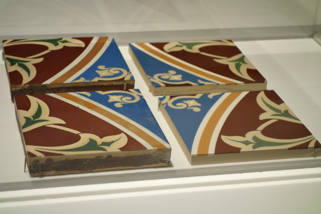 Original and replica tiles from the restoration of the Minton tile ceiling at Bethesda Terrace in Central Park