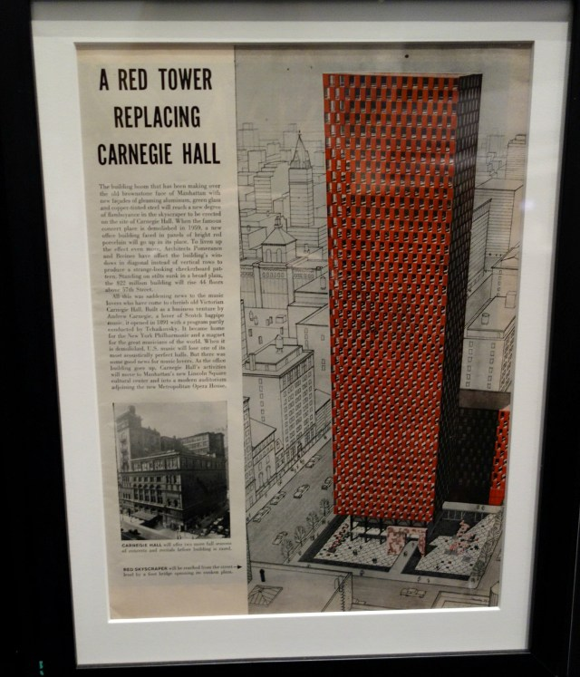 Red skyscraper once planned to replace Carnegie Hall in 1959