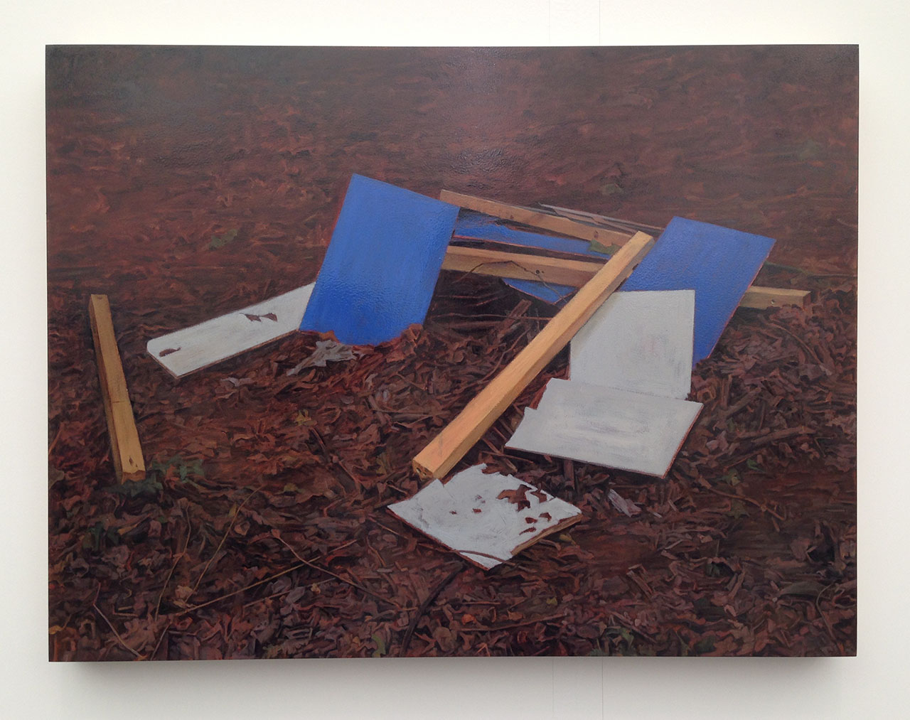 "George Shaw, ""She Had an Horror of Rooms"" (2014–15), Humbrol enamel on board, 56 x 74.5 cm at Wilkinson Gallery"